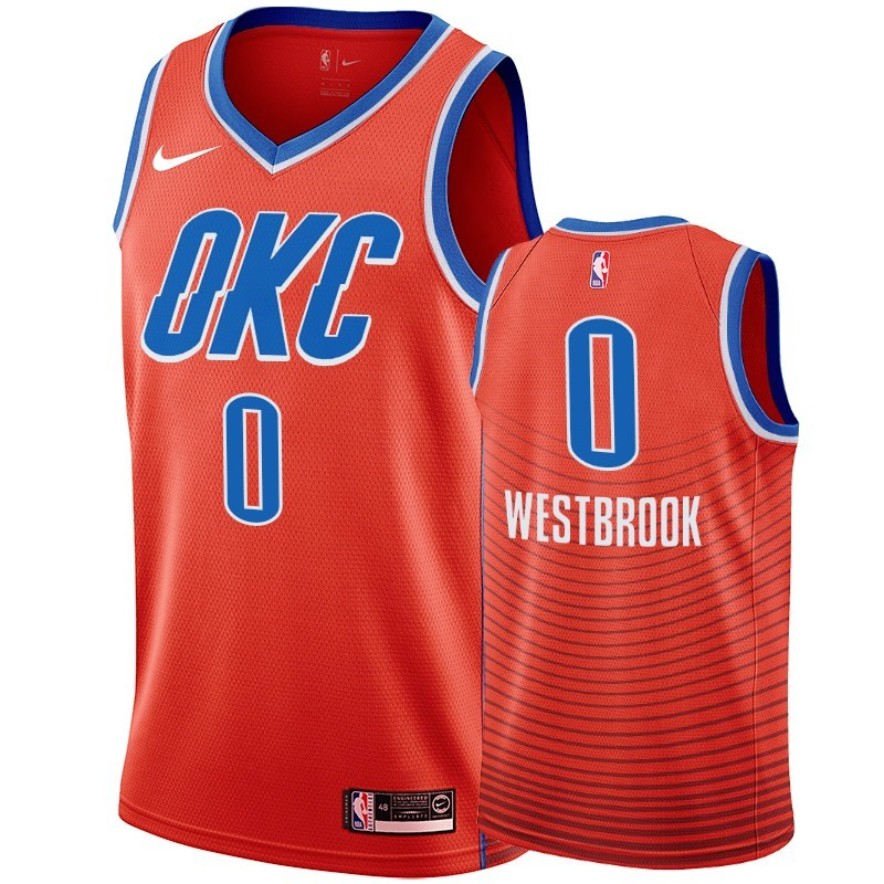 Maillot NBA Nike Oklahoma City Thunder NO.0 Russell Westbrook Orange 2019-20
