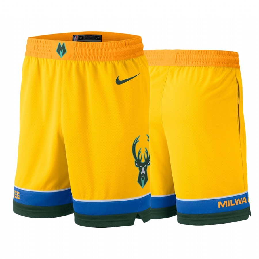 Short Basket Milwaukee Bucks Nike Jaune