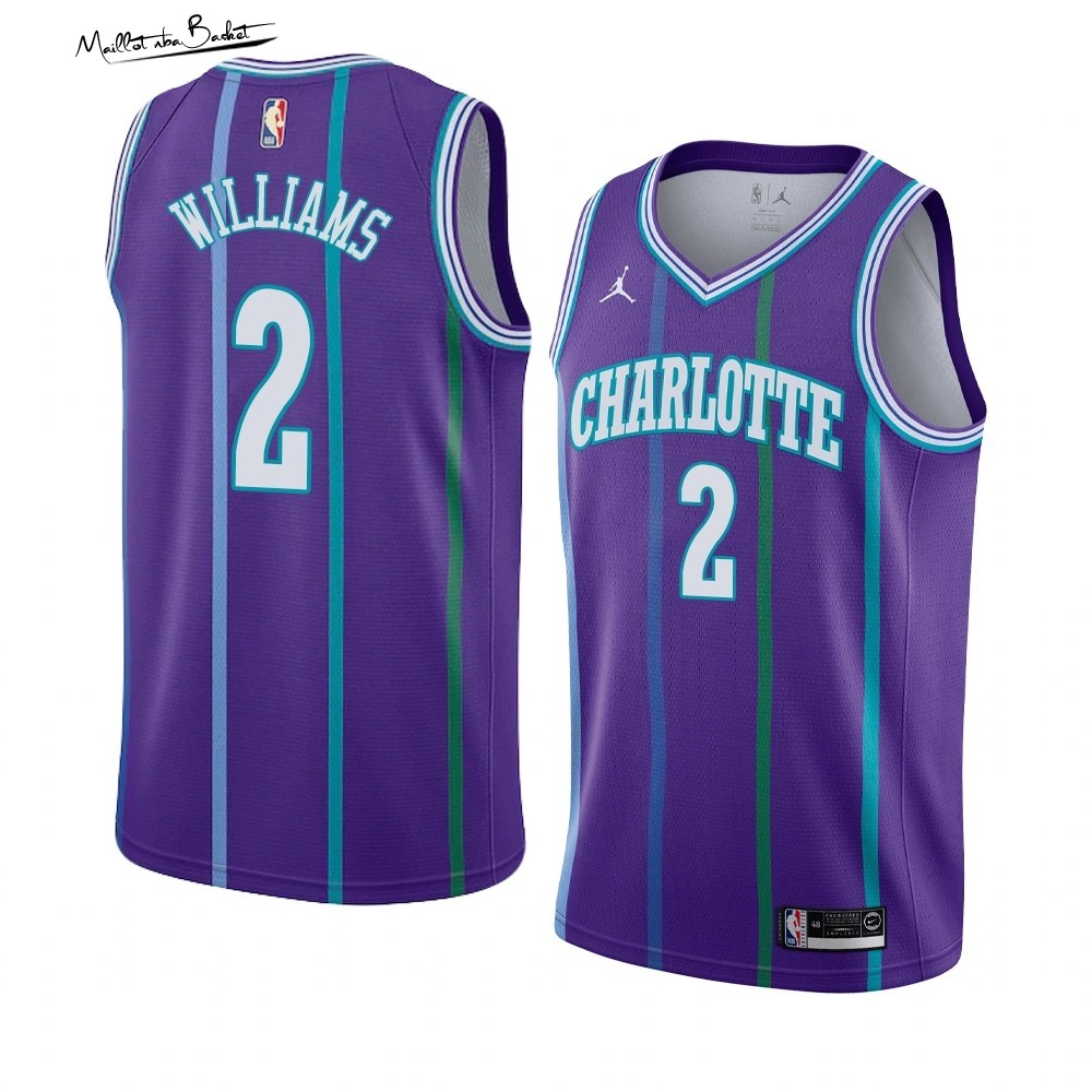 Maillot NBA Charlotte Hornets NO.2 Marvin Williams Pourpre Hardwood Classics