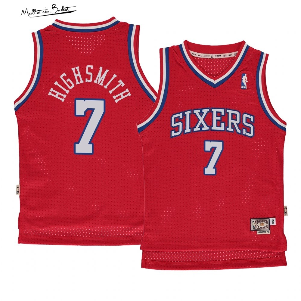 Maillot NBA Enfant Philadelphia Sixers NO.7 Haywood Highsmith Rouge Hardwood Classics 1982-83