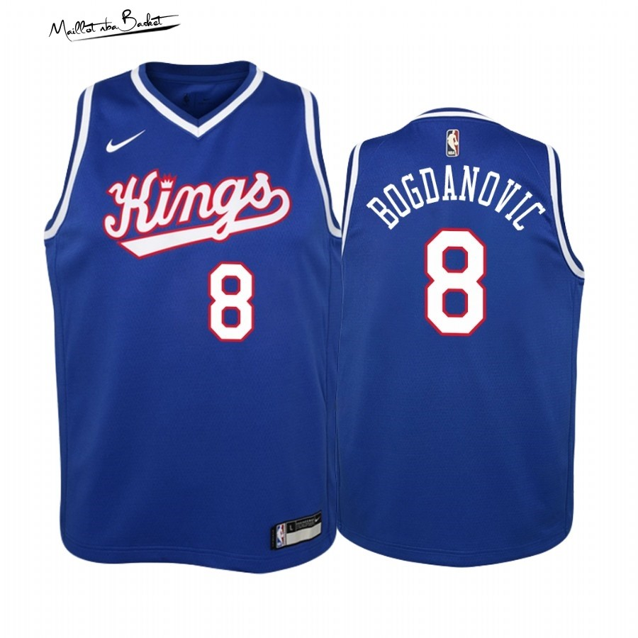 Maillot NBA Enfant Sacramento Kings NO.8 Bogdan Bogdanovic Bleu Throwback