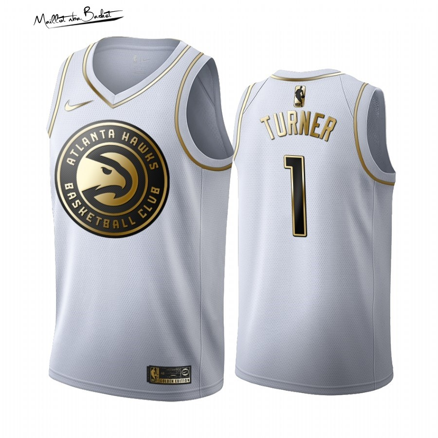 Maillot NBA Nike Atlanta Hawks NO.1 Evan Turner Blanc Or 2019-20