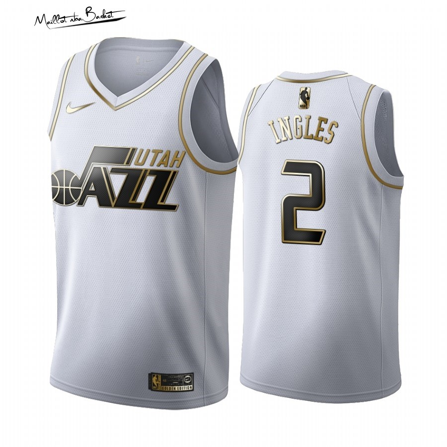 Maillot NBA Nike Utah Jazz NO.2 Joe Ingles Blanc Or 2019-20