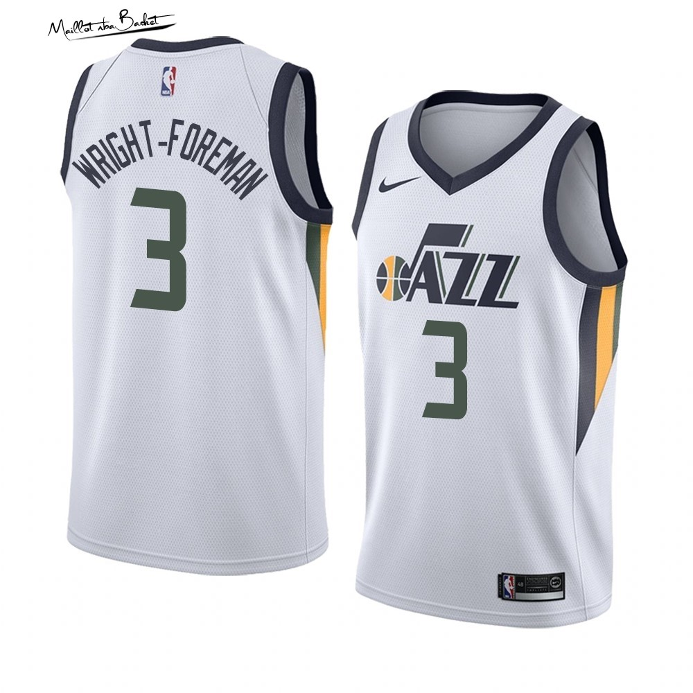 Maillot NBA Nike Utah Jazz NO.3 Justin Wright-Foreman Blanc Association 2019-20