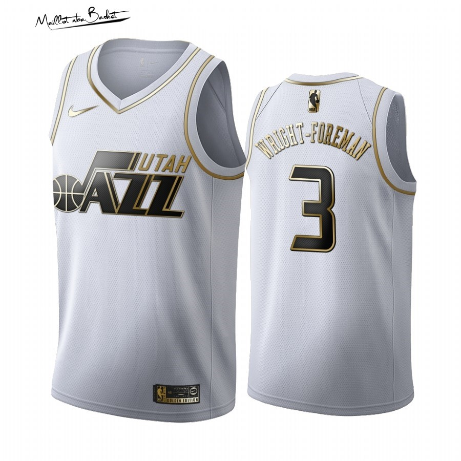 Maillot NBA Nike Utah Jazz NO.3 Justin Wright-Foreman Blanc Or 2019-20