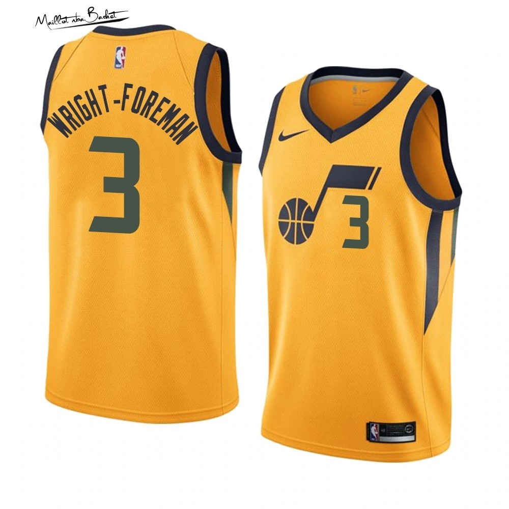 Maillot NBA Nike Utah Jazz NO.3 Justin Wright-Foreman Jaune Statement 2019-20