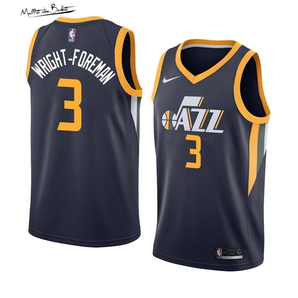 Maillot NBA Nike Utah Jazz NO.3 Justin Wright-Foreman Marine Icon 2019-20