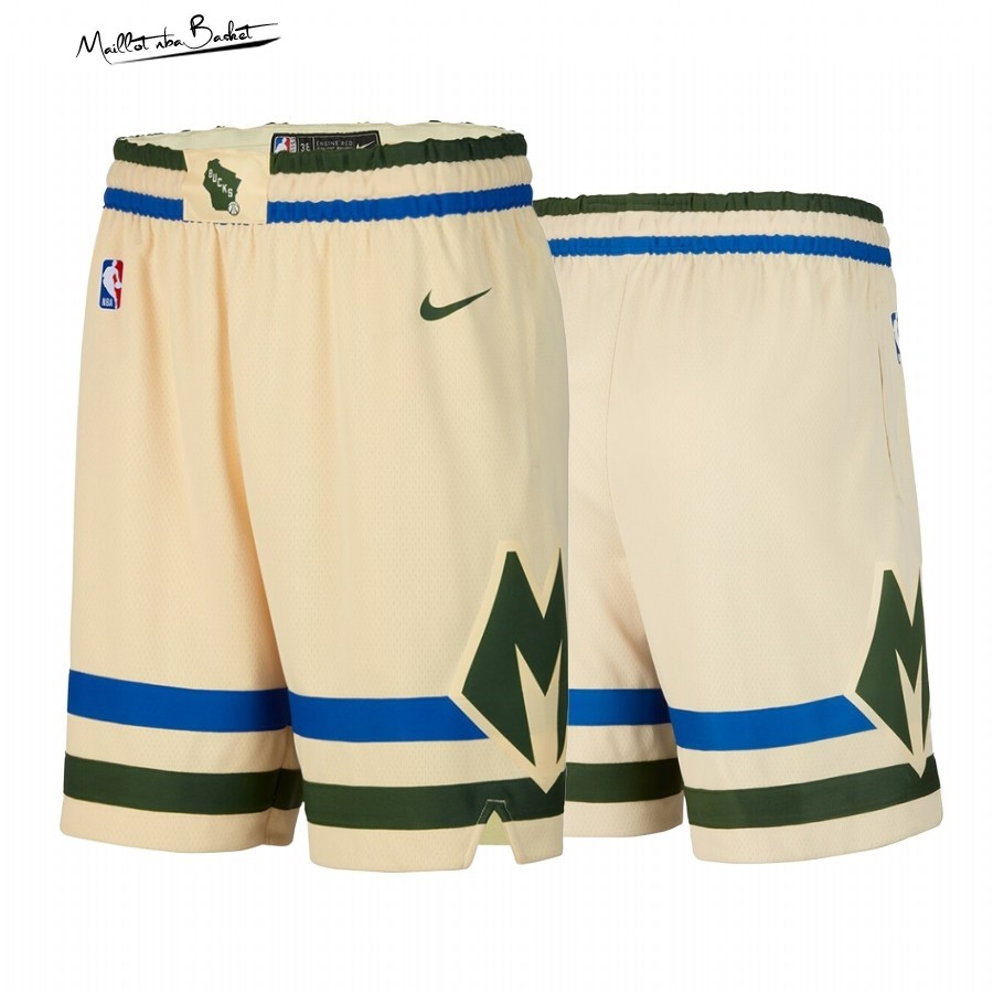 Short Basket Milwaukee Bucks Nike Crème Ville 2019-20