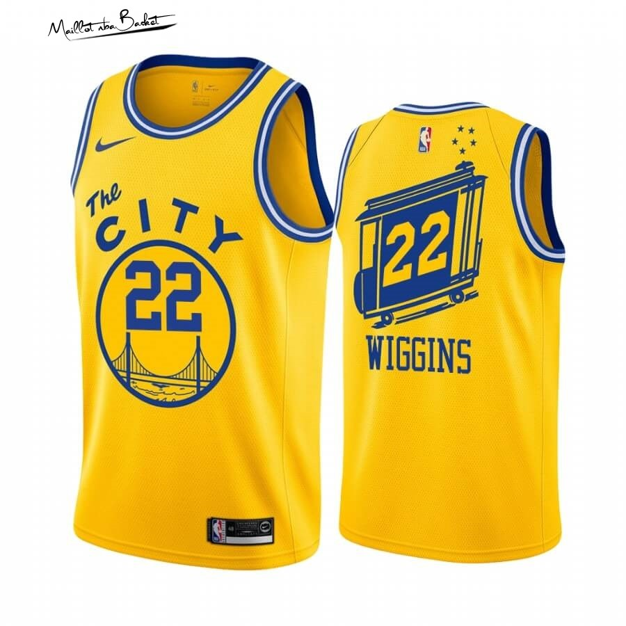 Maillot NBA Golden State Warriors NO.22 Andrew Wiggins Or Hardwood Classics