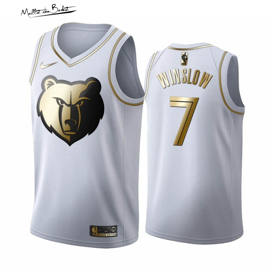 Maillot NBA Nike Menphis Grizzlies NO.7 Justise Winslow Blanc Or 2019-20