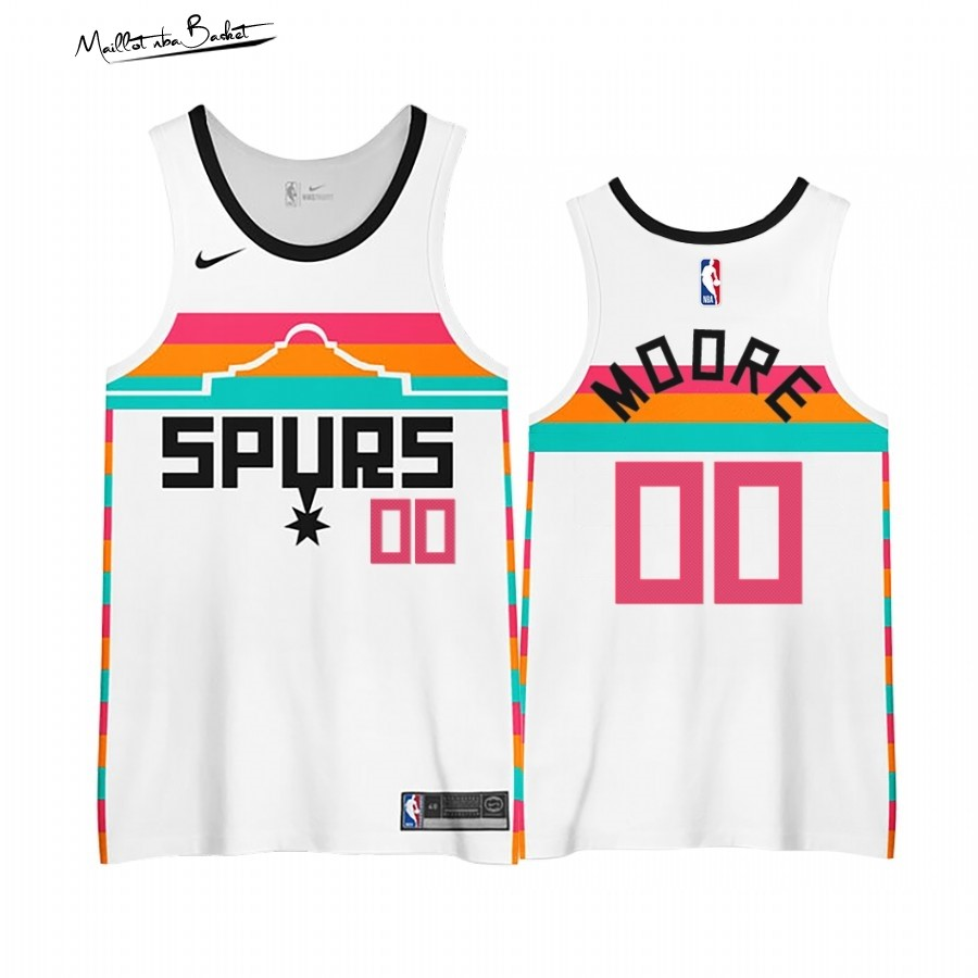 Maillot NBA Earned edition San Antonio Spurs NO.00# Johnny Moore Blanc 2020-21