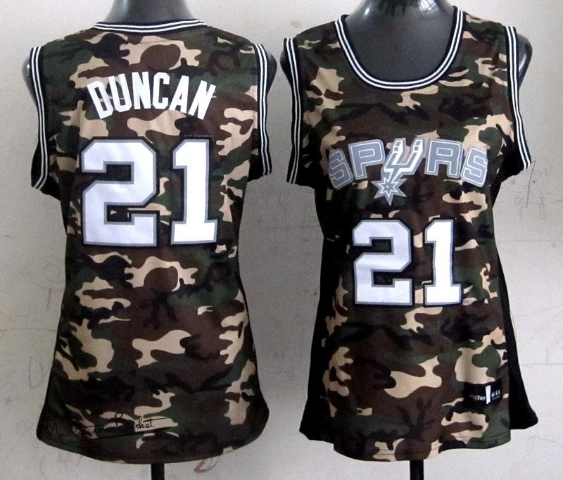 Maillot NBA Femme 2013 Camouflage Fashion NO.21 Tim Duncan