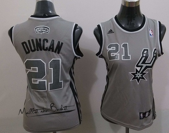 Maillot NBA Femme 2013 Static Fashion NO.21 Tim Duncan Gris