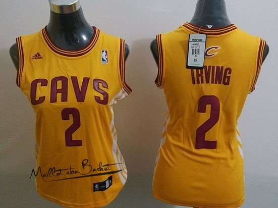 Maillot NBA Femme Cleveland Cavaliers NO.2 Kyrie Irving Blanc Bande