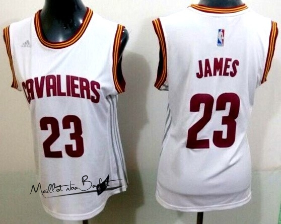 Maillot NBA Femme Cleveland Cavaliers NO.23 LeBron James Blanc Bande