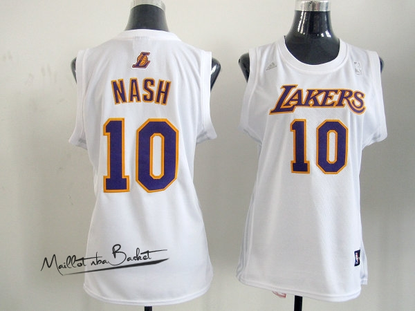 Maillot NBA Femme Los Angeles Lakers NO.10 Steve Nash Blanc