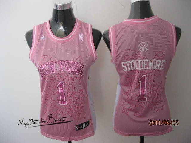 Maillot NBA Femme New York Knicks NO.1 Amar'e Stoudemire Rose