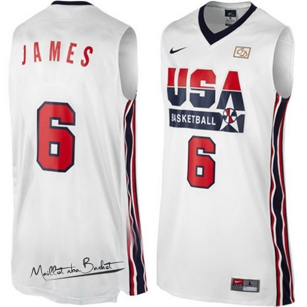 Maillot NBA 1992 USA NO.6 James Blanc