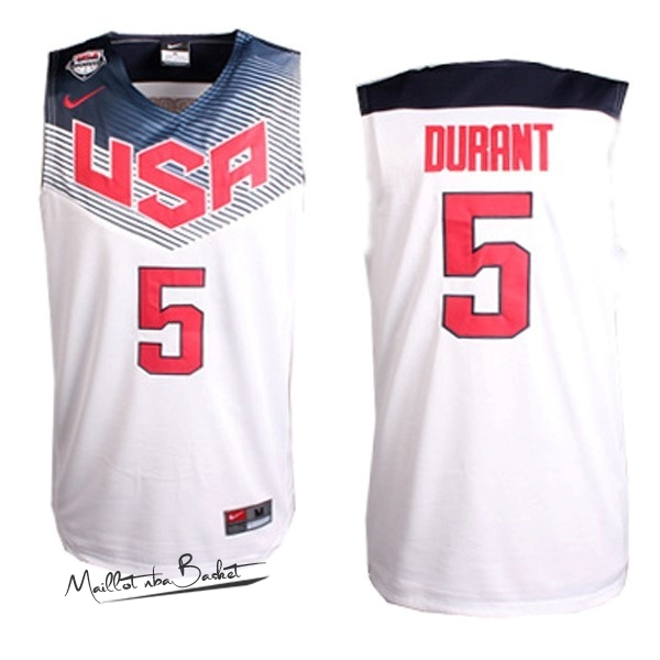 Maillot NBA 2014 USA NO.5 Durant Blanc