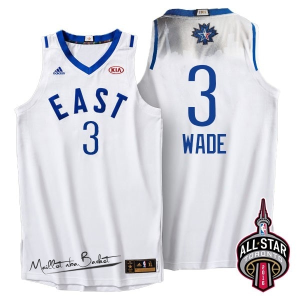 Maillot NBA 2016 All Star NO.3 Dwyane Wade Blanc