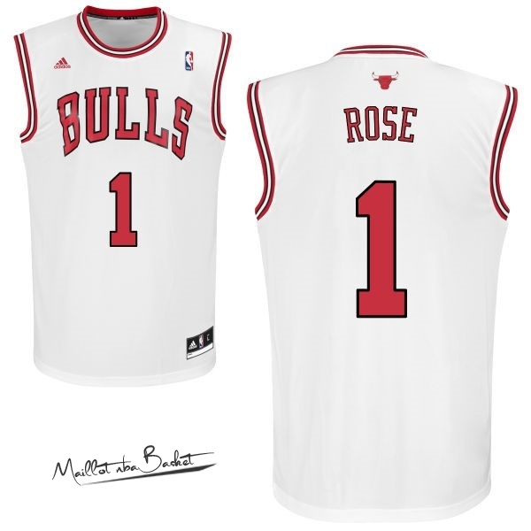 Maillot NBA Chicago Bulls NO.1 Derrick Rose Blanc