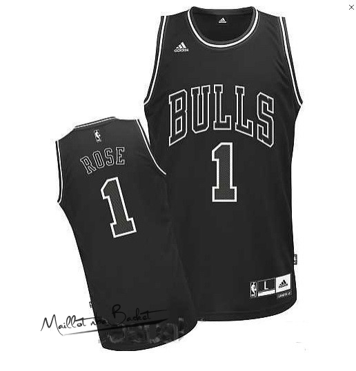 Maillot NBA Chicago Bulls NO.1 Derrick Rose Noir
