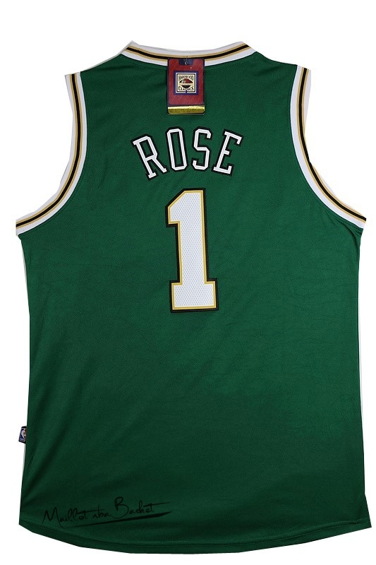Maillot NBA Chicago Bulls NO.1 Derrick Rose Vert Blanc