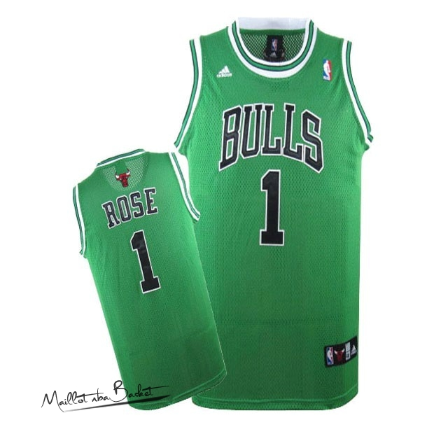 Maillot NBA Chicago Bulls NO.1 Derrick Rose Vert