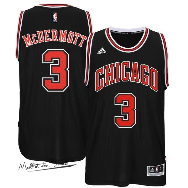 Maillot NBA Chicago Bulls NO.3 Doug McDermott Noir