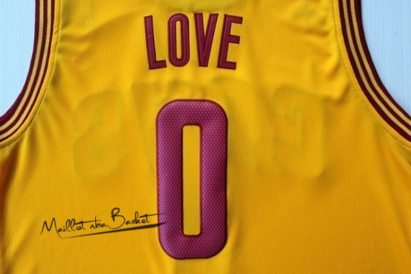 Maillot NBA Cleveland Cavaliers NO.0 Kevin Love Jaune