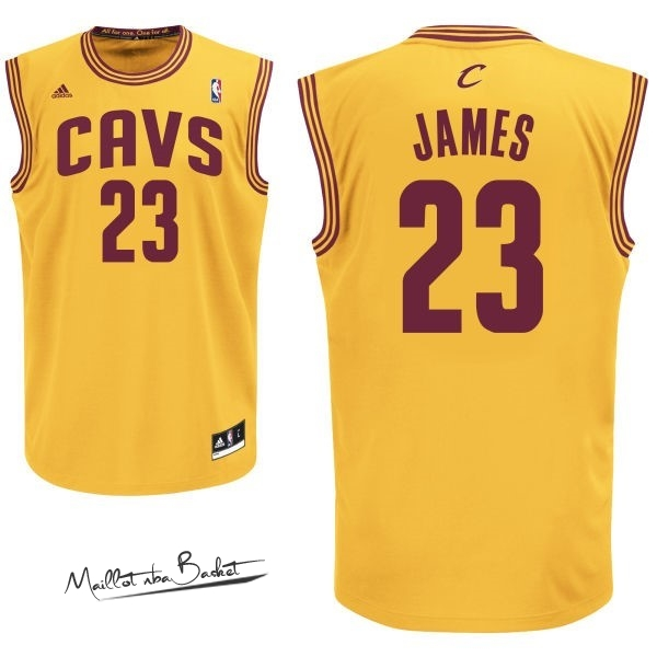 Maillot NBA Cleveland Cavaliers NO.23 LeBron James Jaune