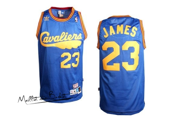 Maillot NBA Cleveland Cavaliers NO.23 LeBron James Retro Bleu