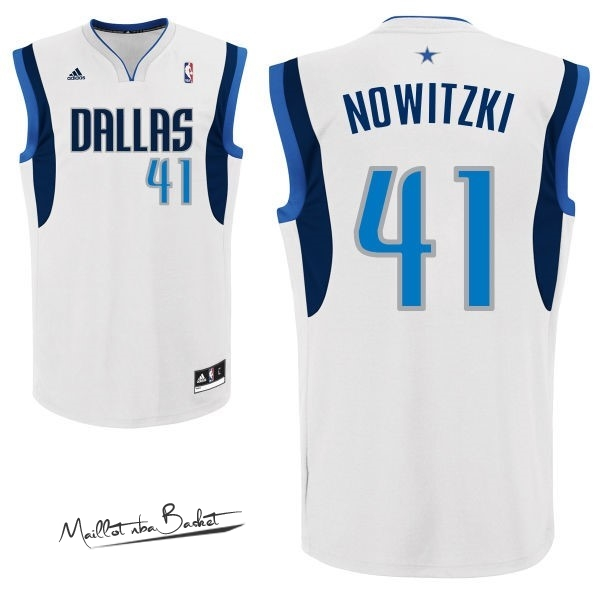 Maillot NBA Dallas Mavericks NO.41 Dirk Nowitzki Blanc