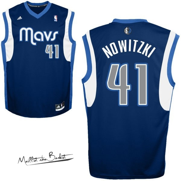 Maillot NBA Dallas Mavericks NO.41 Dirk Nowitzki Bleu Profond