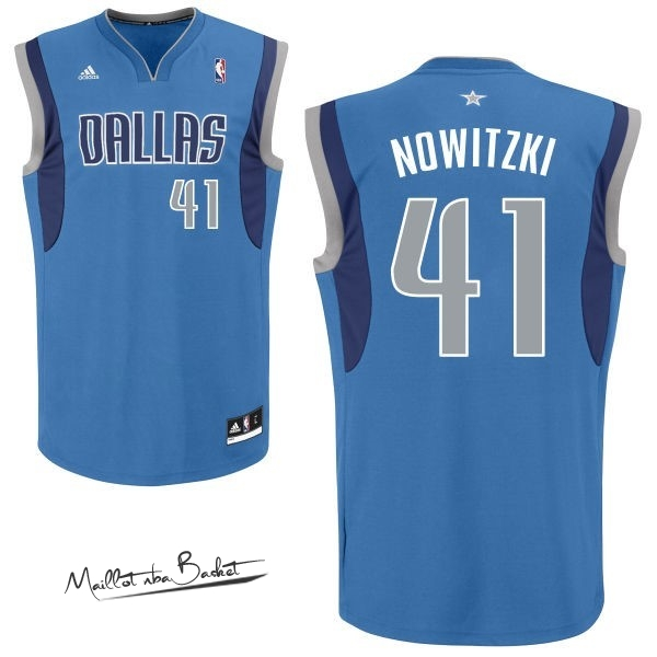 Maillot NBA Dallas Mavericks NO.41 Dirk Nowitzki Bleu