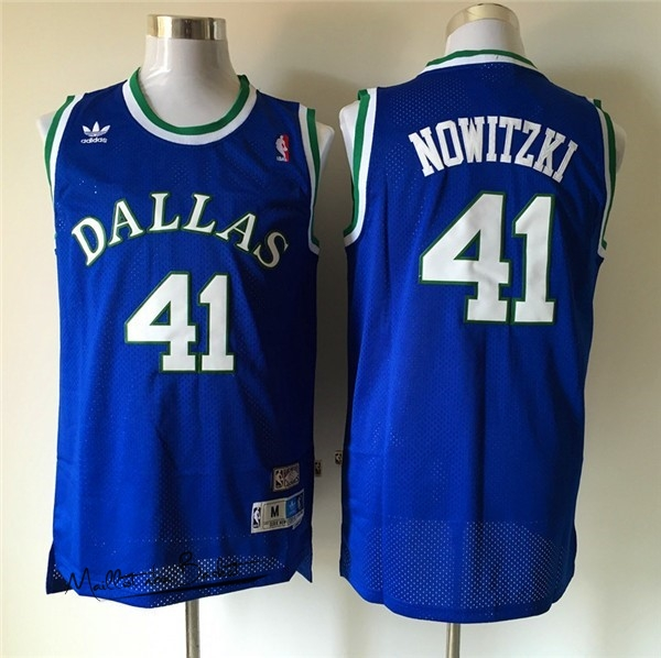 Maillot NBA Dallas Mavericks NO.41 Dirk Nowitzki Retro Bleu