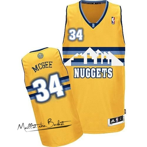 Maillot NBA Denver Nuggets NO.34 JaVale McGee Jaune