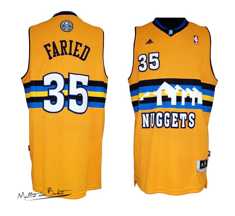Maillot NBA Denver Nuggets NO.35 Kenneth Faried Jaune