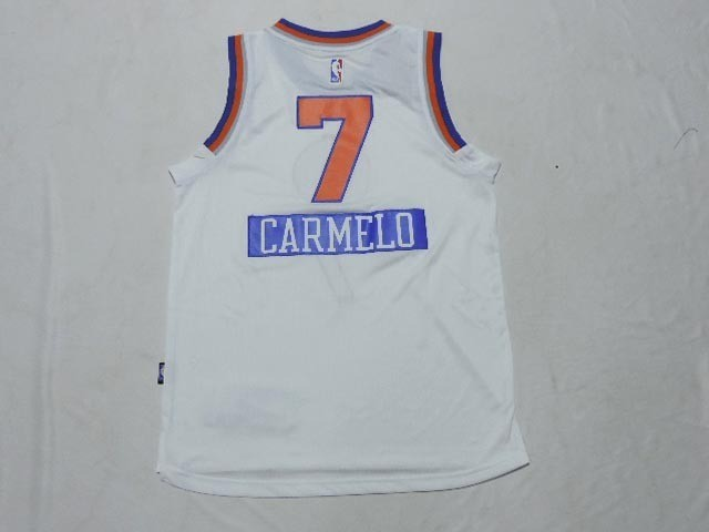 Maillot NBA Enfant 2014 Noël New York Knicks NO.7 Carmelo Blanc
