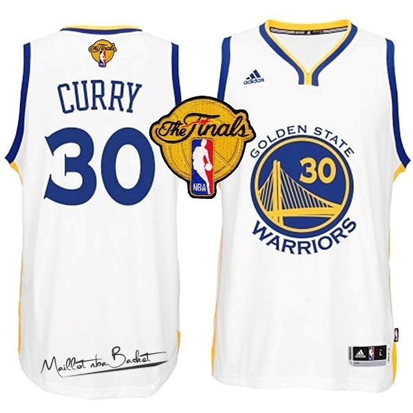 Maillot NBA Golden State Warriors Finales NO.30 Curry Blanc