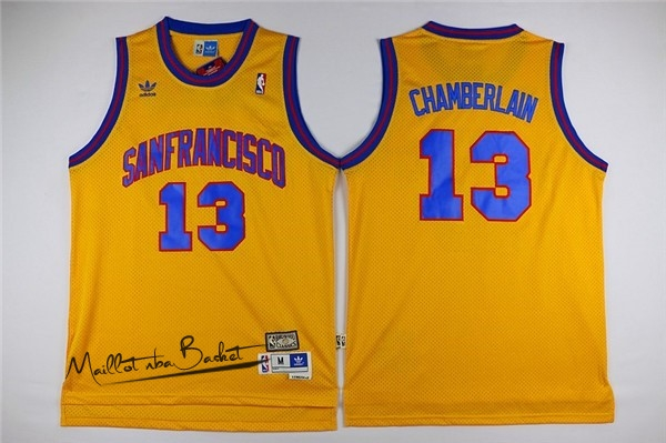 Maillot NBA Golden State Warriors NO.13 Wilt Chamberlain Jaune