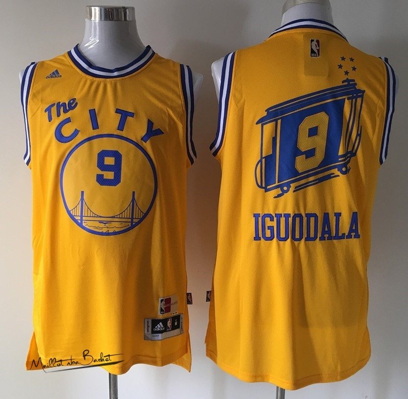 Maillot NBA Golden State Warriors NO.9 Andre Iguodala Retro Jaune