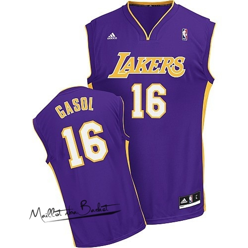 Maillot NBA Los Angeles Lakers NO.16 Pau Gasol Pourpre