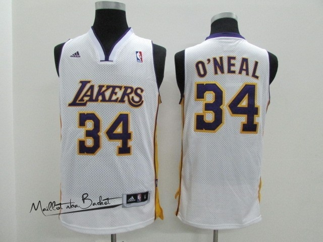 Maillot NBA Los Angeles Lakers NO.34 Shaquille O'Neal Blanc