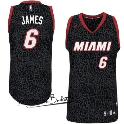 Maillot NBA Miami Heat Luz Léopard NO.6 James Noir