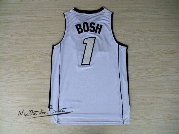Maillot NBA Miami Heat NO.1 Chris Bosh Blanc