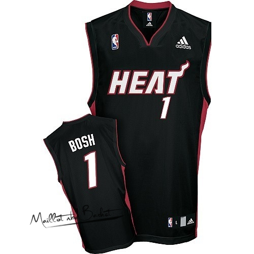 Maillot NBA Miami Heat NO.1 Chris Bosh Noir Rouge