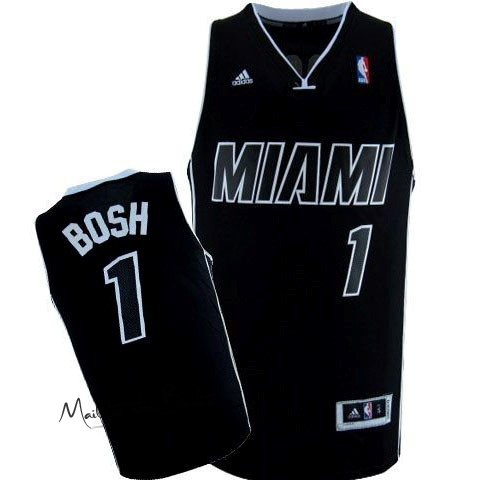 Maillot NBA Miami Heat NO.1 Chris Bosh Noir