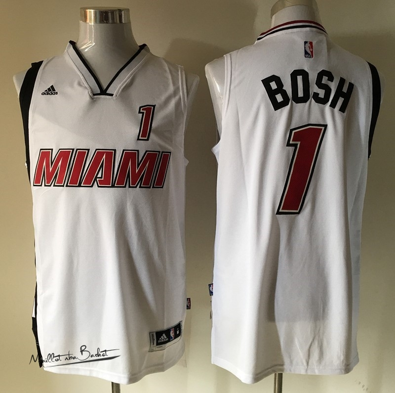 Maillot NBA Miami Heat NO.1 Chris Bosh Retro Blanc