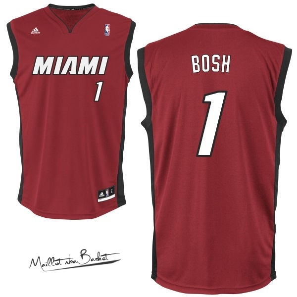 Maillot NBA Miami Heat NO.1 Chris Bosh Rouge Noir